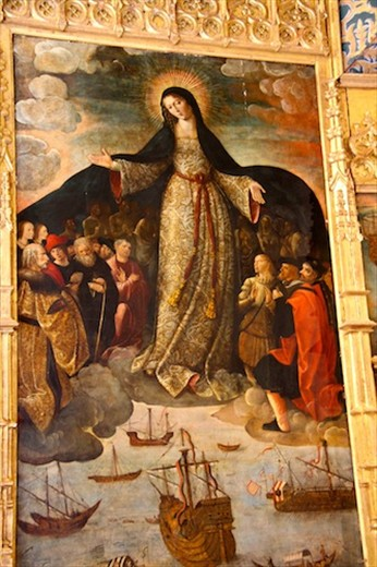 Saint Mary of the Navigators (with Columbus at her left)