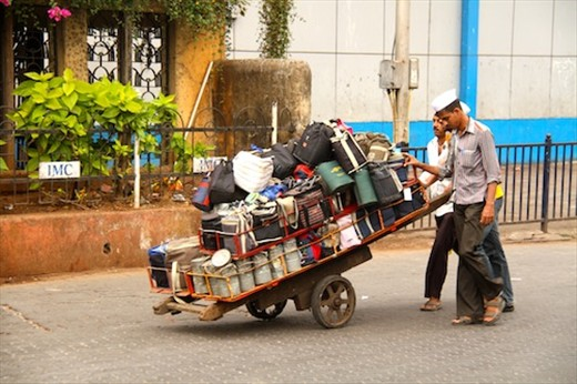 Dabbawallas delivering lunch, Mumbai