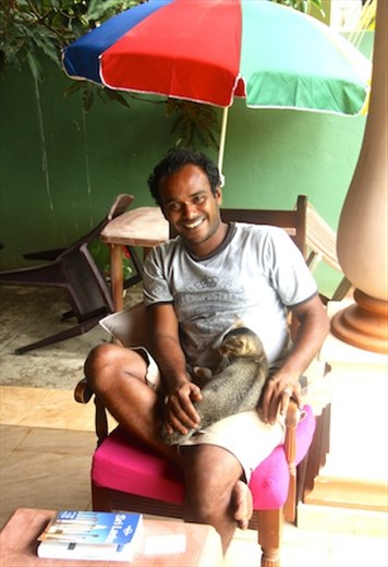 Hassan and one of the cats, Negombo