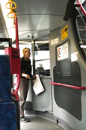 Connie charms the bus driver, Belfast