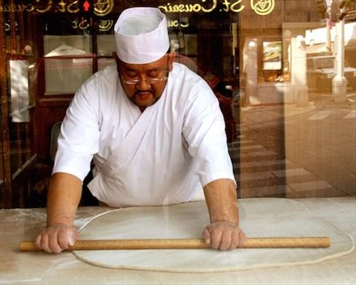 Making soba noodles, Nagano
