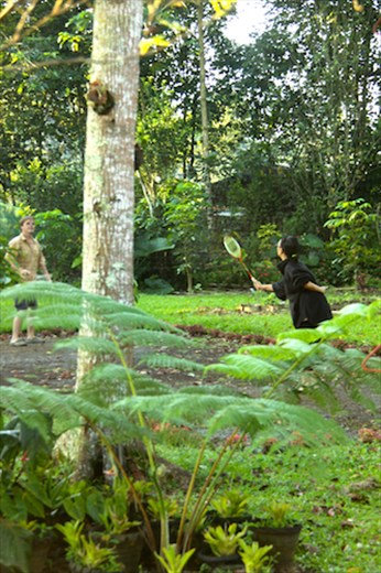 Voelker and Janet in early AM badminton, Pitcher Plant Farm, Mindanao