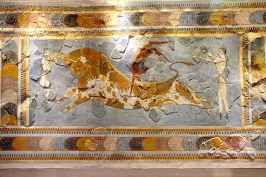 Bull-jumper mosaic from Knossos, Archeological Museum, Heraklion