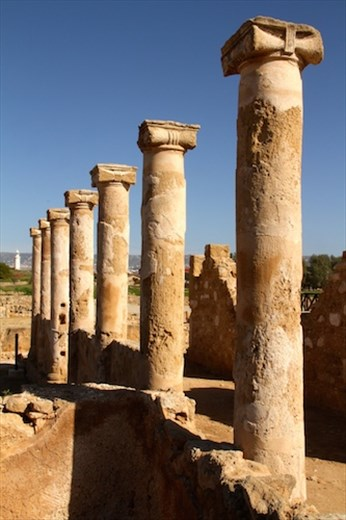 Roman columns and lighthouse, Pafos Archeological site