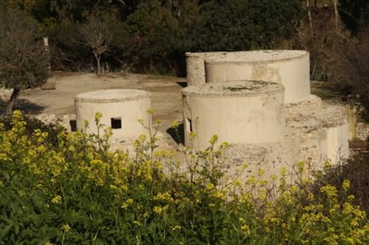 Recreated stone dwellings, Neolithic village of Choirokoitia