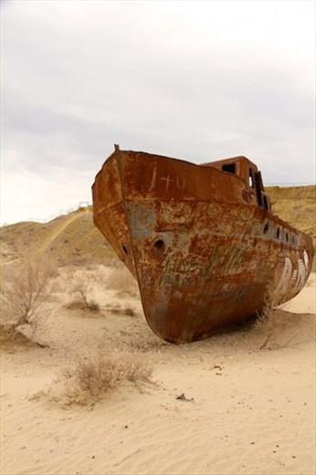 Beached fishing boat, Moynak
