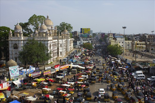 An aerial view from the Charminar. I'ts one place with rush heavy business.