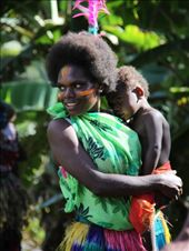 Mother and son dressed up for a 'kastom dance' performance, in a small village of Tanna island, Vanuatu.: by vanuatu, Views[272]