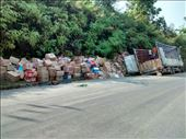 Truck in the gutter, boxes all over the road, oh my!: by veganliesa, Views[118]