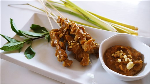 Indonesian Vegan Satay with Peanut Sauce using a smaller TVP.