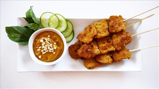 Indonesian Vegan Satay with Peanut Sauce using a large-size TVP.