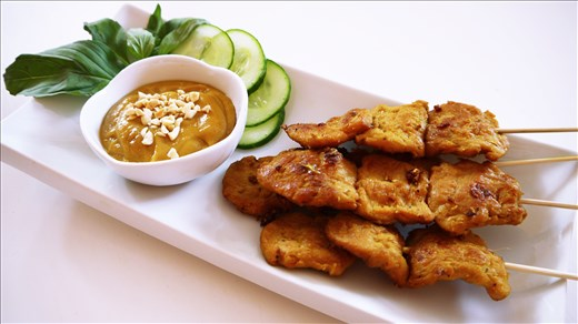Indonesian Vegan Satay with Peanut Sauce using a large-size TVP.