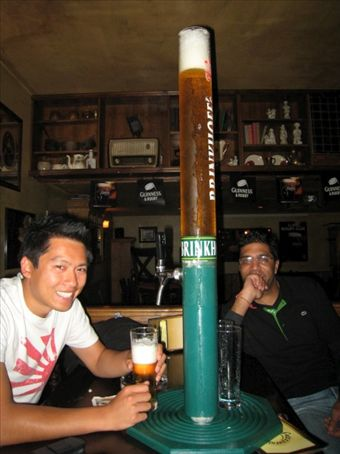 Vien and Pre with the beer tower