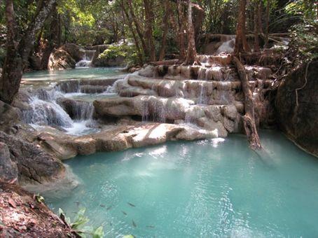 Swimming in Erawan falls