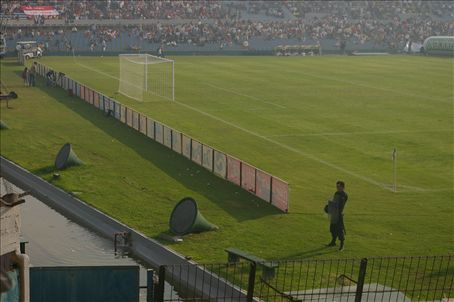 Serious security... there was even a water filled moat separating the spectators and the pitch