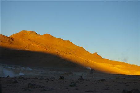 Sunrise with geysers