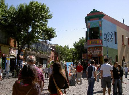The famously colourful street Caminito in La Boca, with Monica, Roberto and I in the foreground