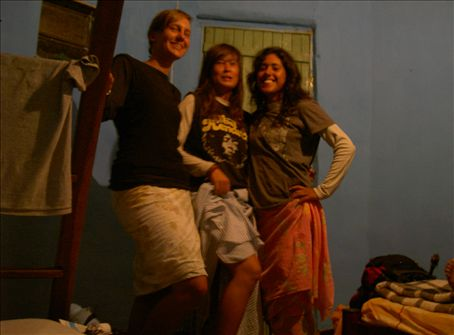 Getting ready for a night out in town, wearing our lovely bedsheet skirts