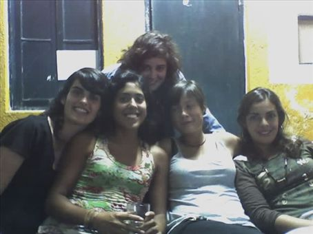 Preparing for a night out: Elena, Moni, Romi, myself and neighbour Luciane