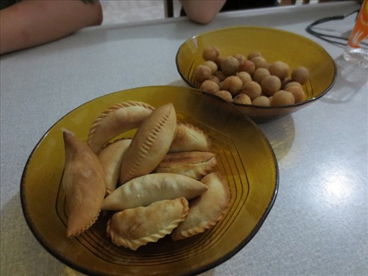 The finished product! Gulah gulah (right) with coconut pastries. Two popular and delicious snacks on Maroshi island.