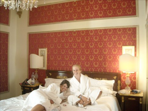 chilling at the excelsior (bathrobes were made compulsory by vivienne)