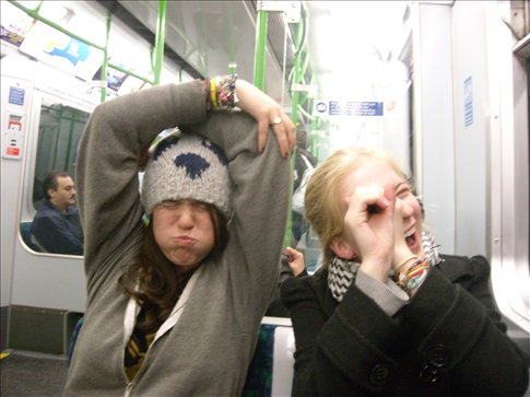 being the tube. on the tube. we're so hilarious