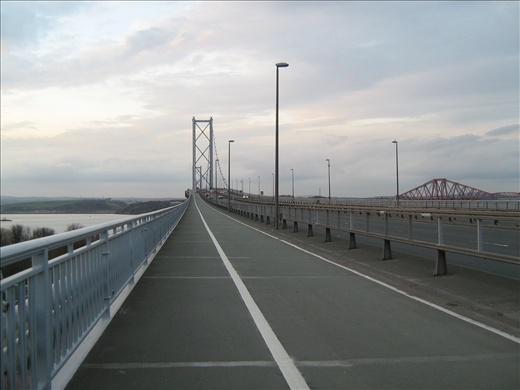 Forth Rail Bridge (right) seems deceptively close from Forth Road bridge.