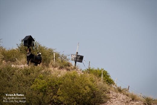 An altar to San La Muerte (Saint Death) in the hills of San Luis.