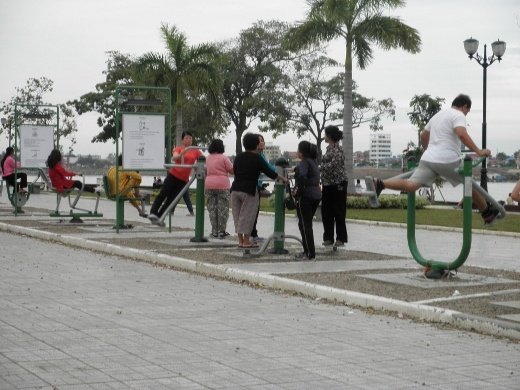 Exercise equipment is available for free at the riverside park, as is aerobics - held every evening and very popular; draws a huge crowd
