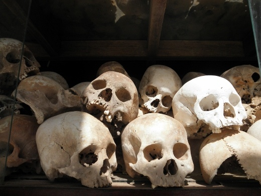 Skulls found in the many ditches of the killing field - many still remain there