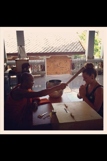 Being blessed by a Monk, Koh Samui