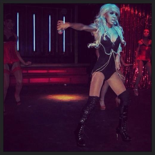 May performing Christina Aguilera at the Lady Boy Show