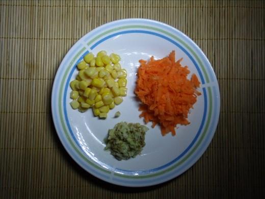 corn, carrot, ginger
