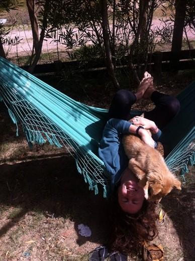 Hammock fun in Punta del Diablo with the pup