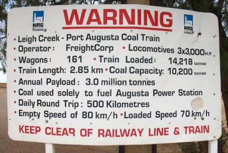 The longest coal train in the world hauls the black stuff from Leigh Creek - all for burning at Port Augusta (Port O'gutta to the locals) power station