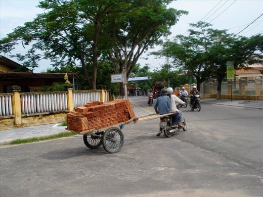 Bricks being delivered to building site.