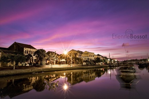 Hoi An across the river at sunset
