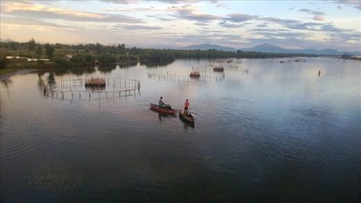 View from the bridge at the dam between Cam Kem