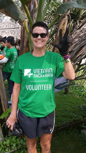 My outfit for volunteer garbage collector at AnBang beach