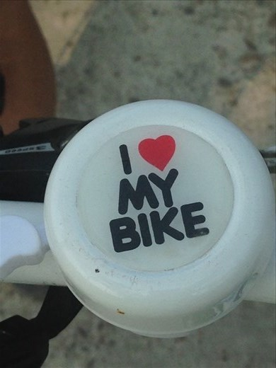 I Love My Bike bell comes in very handy when crossing intersections. Ring, ring