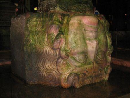 Medusa sculpture within Basilica Cistern ISTANBUL