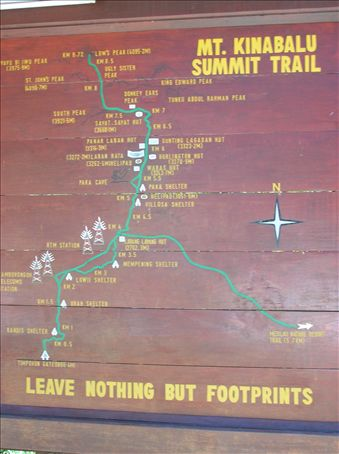 Summit trail map at Mount Kinabalu National Park Headquarters.