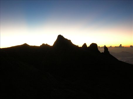 The eastern peaks of Kinabalu.