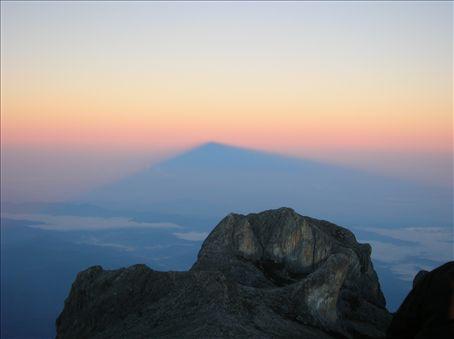 Mountain shadow behind St. John's Peak.