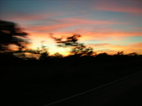 Sunset as we head to Katherine.