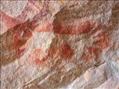 Hand stencils were made by spraying pigment out of the mouth onto the hand held against the rock.: by whitneyj, Views[373]