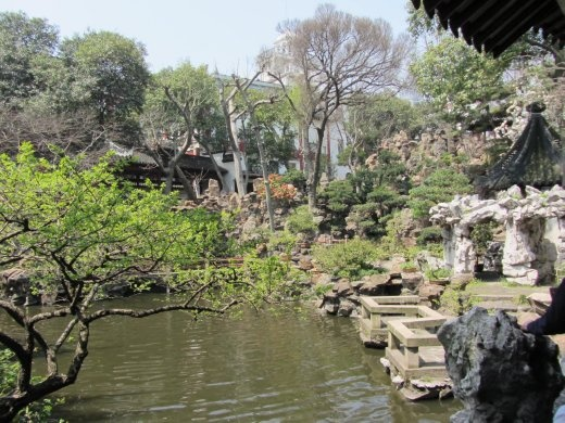 Classic Chinese gardening.  Earthly elements combine for a serene environment.