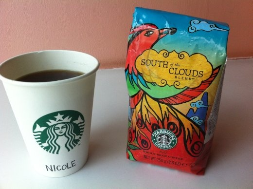 Have not seen this one before.  South of the Clouds Starbucks blend.  It's good, and I bought it for my office coffee.