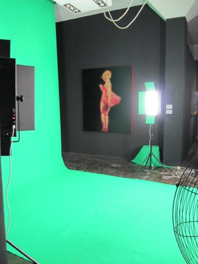 Shooting works in the studio for their art.
