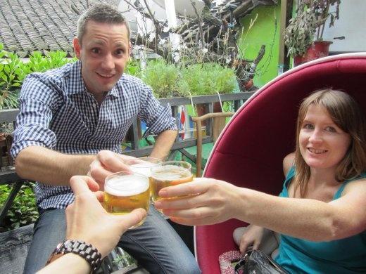 Afternoon Tsingdao beer. Ganbei (cheers)